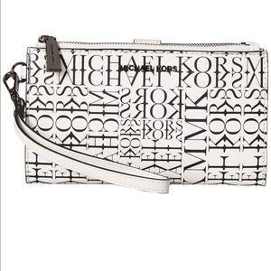 Michael Kors Adele Newsprint Logo Leather Wallet
